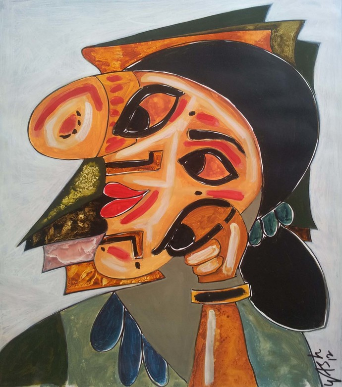 Fortitude of Lady by yashpal gambhir, Illustration Painting, Mixed Media on Paper, Brown color