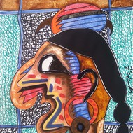 Moksh 19  size 12.5x17.5inch mix media on paper 2012