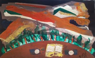 What the Life by yashpal gambhir, Abstract Painting, Acrylic on Paper, Brown color