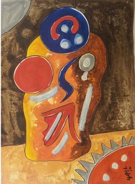 Acerb by yashpal gambhir, Abstract Painting, Mixed Media on Paper, Brown color