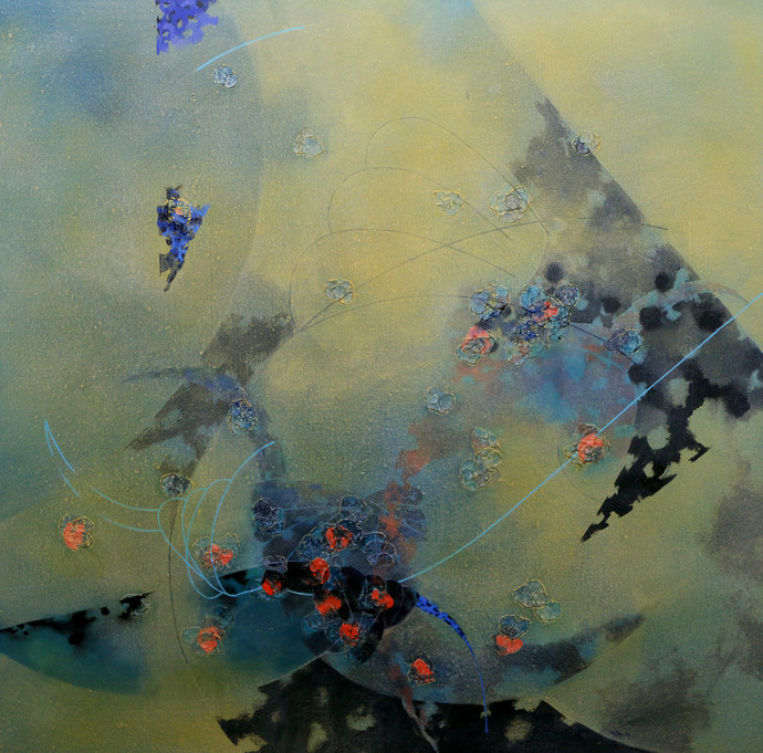 colours of life 81 by Asif sharief Shaikh, Abstract Painting, Acrylic on Canvas, Green color