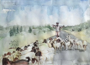 Sepherd by Sreenivasa Ram Makineedi, Impressionism Painting, Watercolor on Paper, Gray color