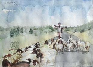 Sepherd Digital Print by Sreenivasa Ram Makineedi,Impressionism