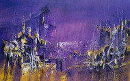 Mid night City by Dnyaneshwar Dhavale , Abstract Painting, Acrylic on Canvas, Blue color