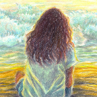 Watching the waves by Shalini Sinha, Impressionism Painting, Oil Pastel on Paper, Beige color