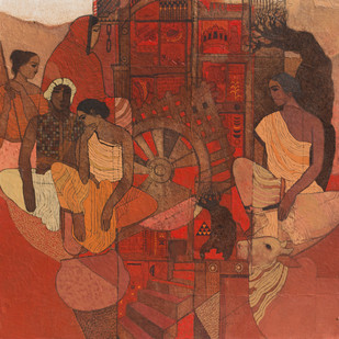 Red Door by Siddharth Shingade, Expressionism Painting, Acrylic on Canvas, Brown color