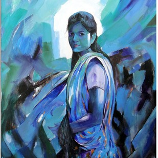 GIRL ( I ) by RANJAN KUMAR, Expressionism Painting, Acrylic on Canvas, Blue color