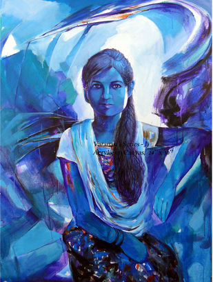 GIRL IN RICKSHAW by RANJAN KUMAR, Expressionism Painting, Acrylic on Canvas, Blue color