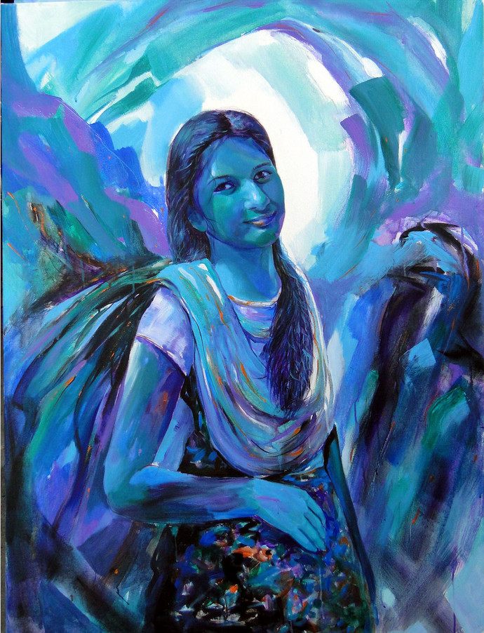 GIRL II by RANJAN KUMAR, Expressionism Painting, Acrylic on Canvas, Blue color