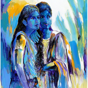 TWO SISTERS by RANJAN KUMAR, Expressionism Painting, Acrylic on Canvas, Blue color