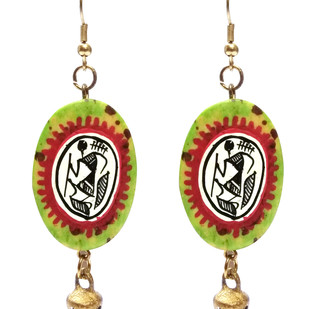 Hand Painted Warli Art Earring by eGenie Art, Traditional Earring
