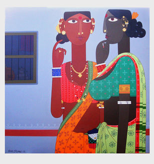gossip by Kandi Narsimlu, Expressionism Painting, Acrylic on Canvas, Pink color