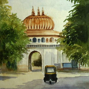 MOTI MAHAL GATE by Ram Kumar Maheshwari, Impressionism Painting, Watercolor on Paper, Beige color