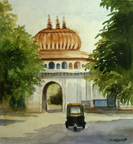 MOTI MAHAL GATE by Ram Kumar Maheshwari, Impressionism Painting, Watercolor on Paper, Beige color