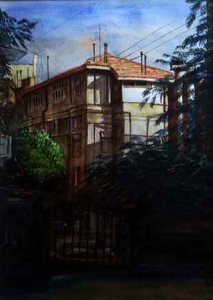 EVENING LIGHT by Ram Kumar Maheshwari, Impressionism Painting, Watercolor on Paper, Black color