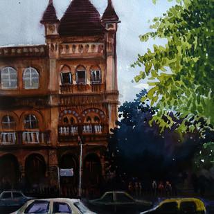 MUMBAI by Ram Kumar Maheshwari, Impressionism Painting, Watercolor on Paper, Brown color