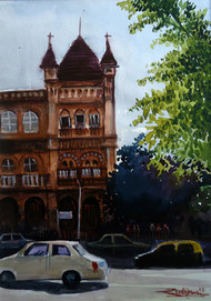 MUMBAI by Ram Kumar Maheshwari, Impressionism Painting, Watercolor on Paper, Brown color