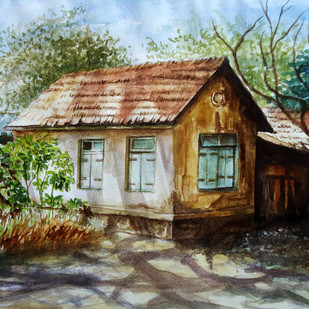 OLD HOUSE by Ram Kumar Maheshwari, Impressionism Painting, Watercolor & Ink on Paper, Brown color