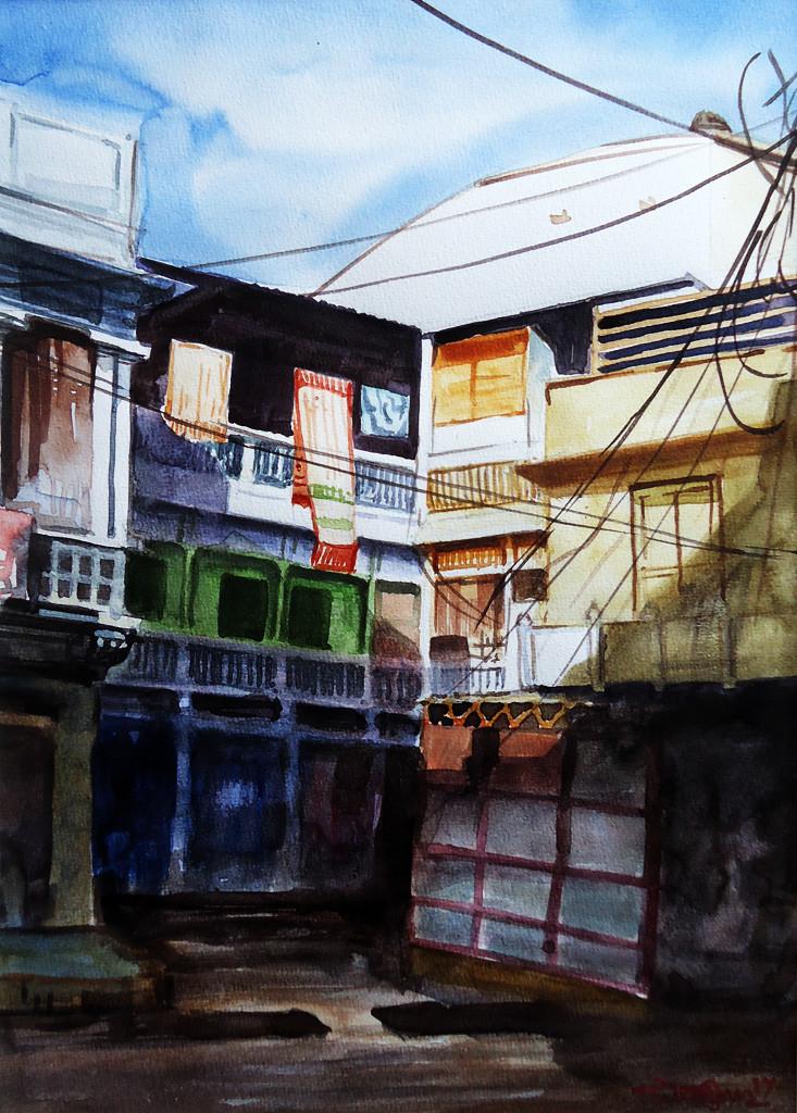 3PM LIGHT by Ram Kumar Maheshwari, Impressionism Painting, Watercolor on Paper, Gray color
