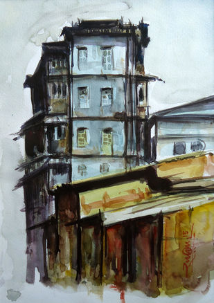 old building , mumbai by Ram Kumar Maheshwari, Impressionism Painting, Watercolor on Paper, Gray color