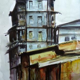 old building , mumbai by Ram Kumar Maheshwari, Impressionism Painting, Watercolor on Paper, Gray color