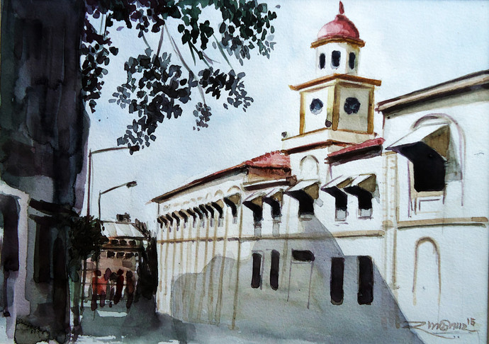 In evening light by Ram Kumar Maheshwari, Impressionism Painting, Watercolor on Paper, Gray color
