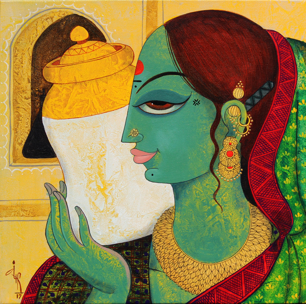 face by Varsha Kharatmal, Decorative Painting, Acrylic on Canvas, Green color