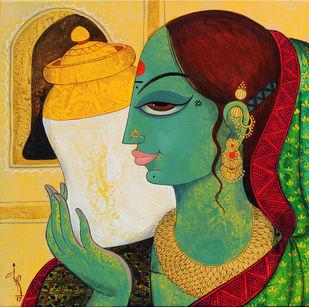 face by Varsha Kharatmal, Decorative Painting, Acrylic on Canvas, Green color