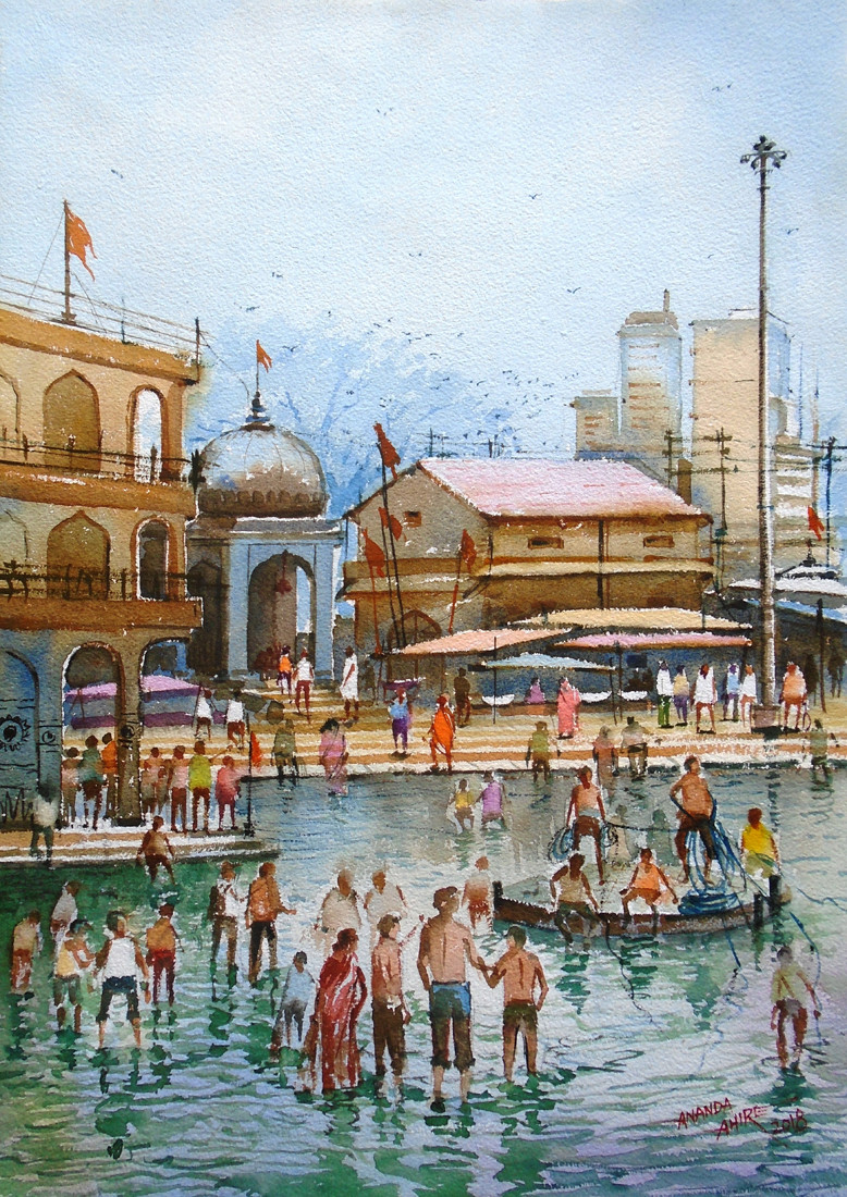 GODAVARI DARSHAN by Ananda Ahire, Impressionism Painting, Watercolor on Paper, Cyan color