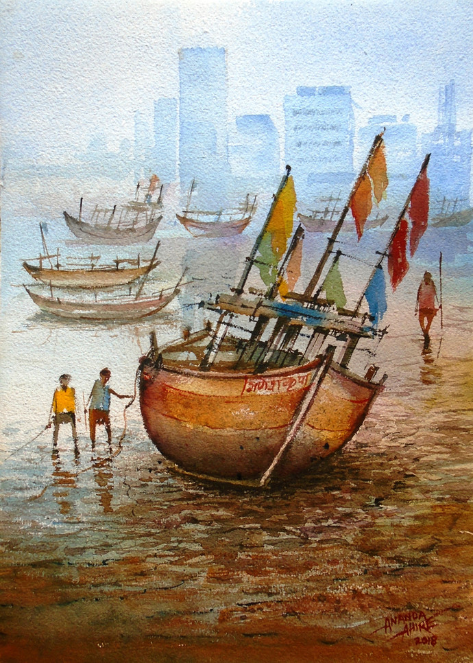 Boat by Ananda Ahire, Impressionism Painting, Watercolor on Paper, Brown color