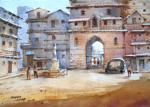 Untitled by Ananda Ahire, Impressionism Painting, Watercolor on Paper, Brown color