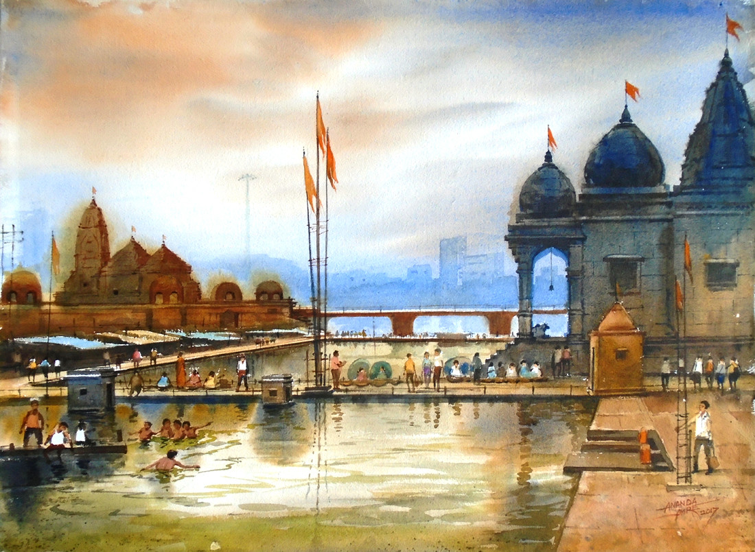 Godavari Nashik by Ananda Ahire, Impressionism Painting, Watercolor on Paper, Beige color