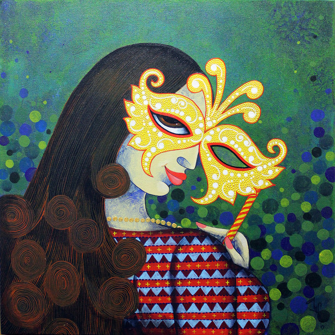Mask 2 by Varsha Kharatmal, Decorative Painting, Acrylic on Canvas, Green color