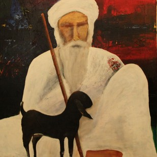 The Caretaker I by Pratap SJB Rana, Expressionism Painting, Acrylic on Canvas, Brown color