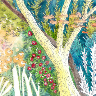 Tree in a forest by Shalini Sinha, Impressionism Painting, Watercolor & Ink on Paper, Beige color