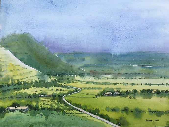 landscape 2 by SOUMI JANA, Impressionism Painting, Watercolor on Paper, Green color