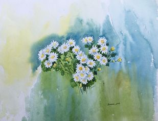white flowers by SOUMI JANA, Impressionism Painting, Watercolor on Paper, Cyan color