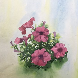 pitunia by SOUMI JANA, Impressionism Painting, Watercolor on Paper, Beige color