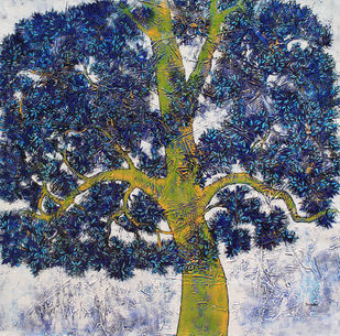 tree of life by Bhaskar Rao, Impressionism Painting, Acrylic on Canvas, Blue color
