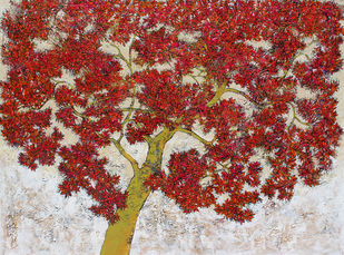 tree of life by Bhaskar Rao, Impressionism Painting, Acrylic on Canvas, Brown color