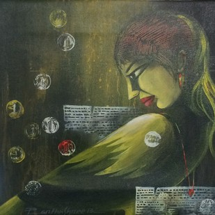 Woman Bird by Partha Sarthy, Expressionism Painting, Acrylic on Canvas, Green color