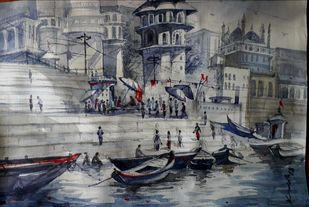 Varanasi Ghat 2 by Krishnendu Halder, Impressionism Painting, Watercolor on Paper, Gray color