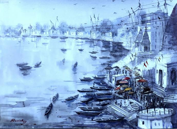 Varanasi Ghat 1 by Krishnendu Halder, Impressionism Painting, Watercolor on Paper, Cyan color