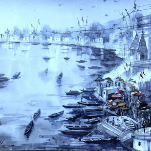 Varanasi Ghat 1 by Krishnendu Halder, Impressionism Painting, Watercolor on Paper, Cyan color