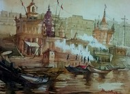 Varanasi Ghat by Krishnendu Halder, Impressionism Painting, Watercolor on Paper, Brown color