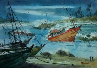 Storm by Krishnendu Halder, Impressionism Painting, Watercolor on Paper, Green color