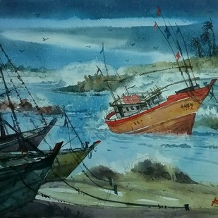 Storm by Krishnendu Halder, Impressionism Painting, Watercolor on Paper, Green color