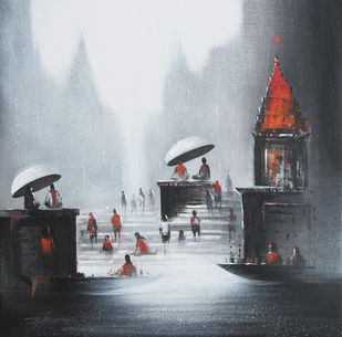 Holy Banaras by Somnath Bothe, Impressionism Painting, Mixed Media on Canvas, Gray color