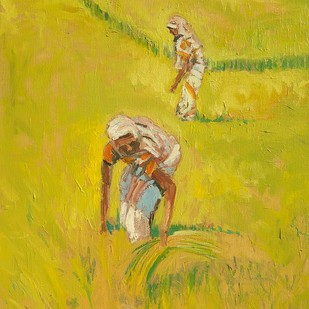Rice Harvest by Animesh Roy, Impressionism Painting, Oil on Canvas, Green color