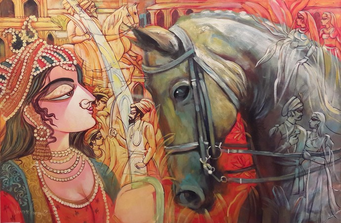 THE QUEEN by Subrata Ghosh, Expressionism Painting, Acrylic on Canvas, Brown color